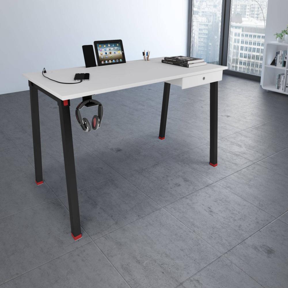 Milan Workstation in White & Black Finish