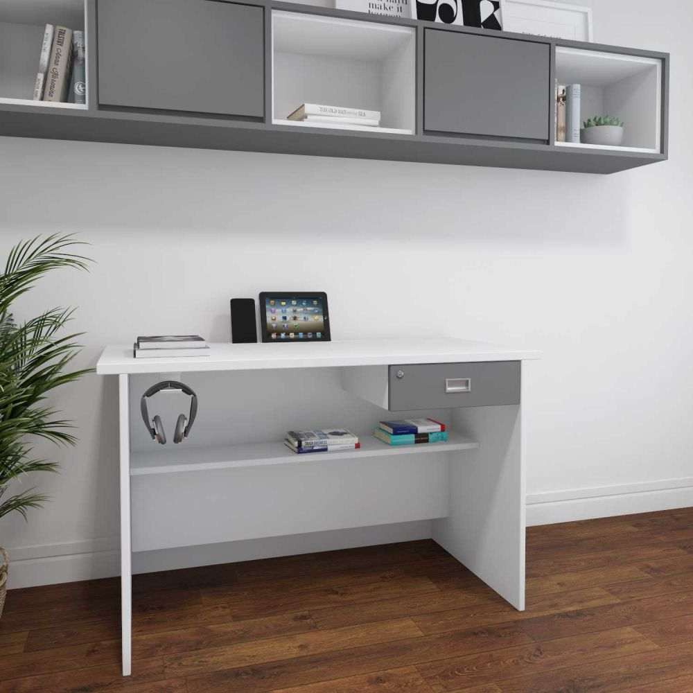 ATHENS WORKSTATION IN WHITE & GREY FINISH