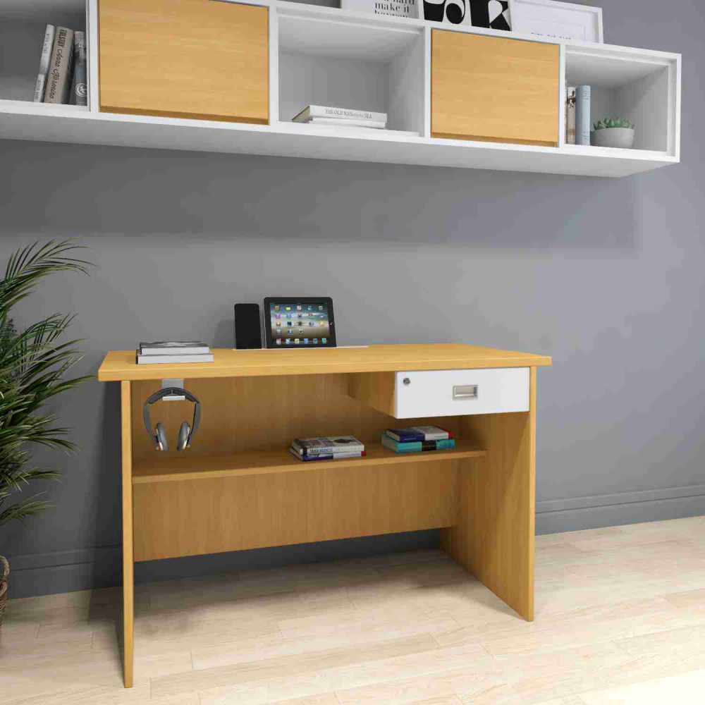 ATHENS WORK STATION IN  OAK & WHITE FINISH